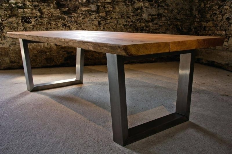 Most Recent Decoration: Large Oak Dining Table With Beautiful Natural Live Edge With Regard To Dining Tables With Large Legs (View 12 of 20)