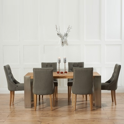 Most Recent Dining Tables With Grey Chairs With Kingston Solid Oak Extending Dining Table With 6 Primly Grey Chairs (View 15 of 20)