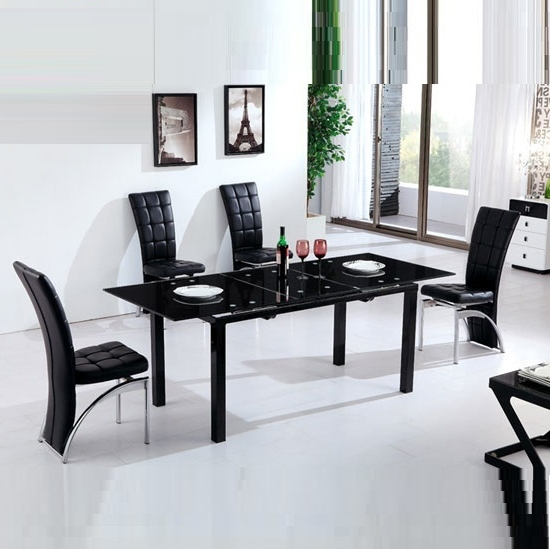 Most Recent Florence Dining Tables With Regard To Florence Extending Black Glass Dining Table With 6 Ravenna (View 14 of 20)
