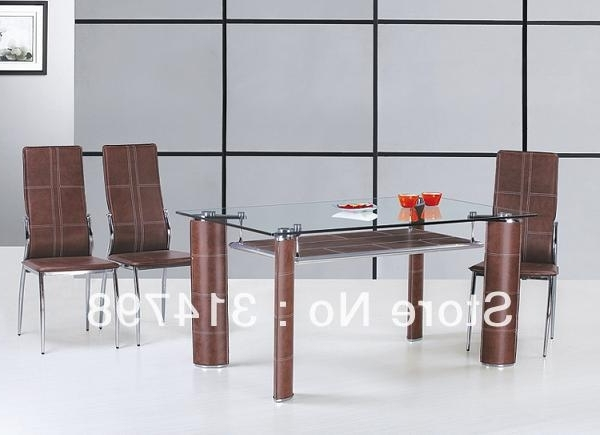 Most Recent Glass Dining Tables And Leather Chairs Inside Glass Dining Table With Mdf Attached Hard Leather Legs, Dining Chair (View 11 of 20)