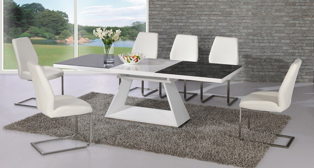 Most Recent Glass Extendable Dining Tables And 6 Chairs Within Amsterdam Glass And Gloss Extending White And Black Dining (View 20 of 20)