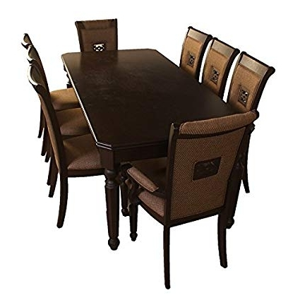 Most Recent Hometown Calisto Eight Seater Dining Table Set (Brown): Amazon (View 15 of 20)