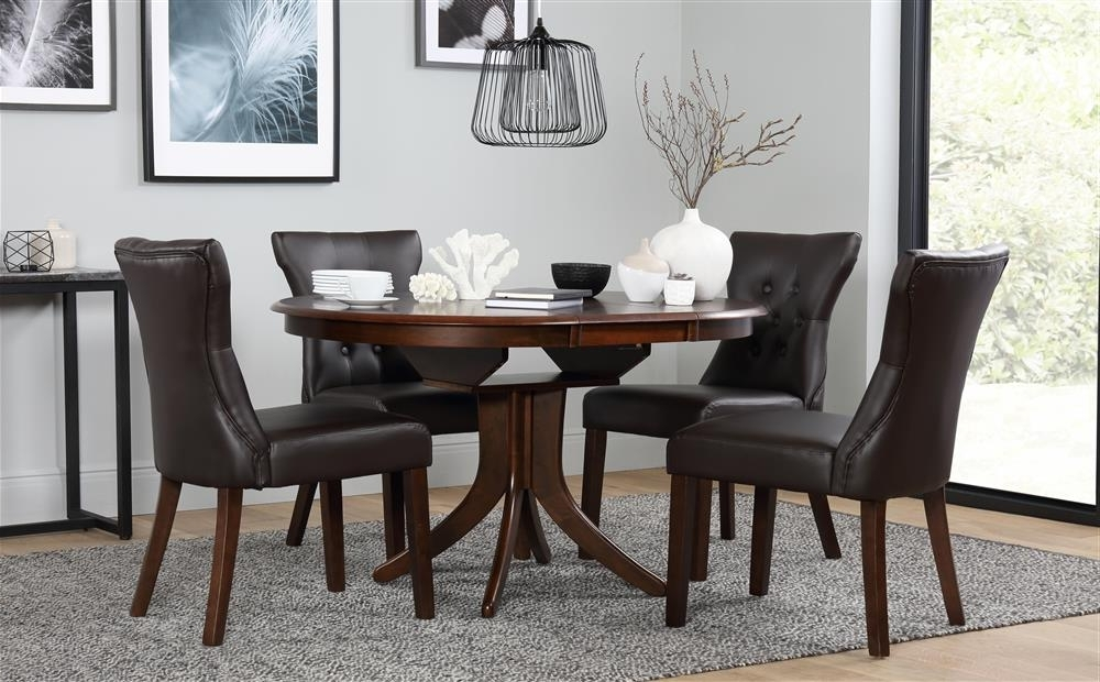 Most Recent Hudson Round Dark Wood Extending Dining Table And 6 Chairs Set In Dark Wood Dining Tables 6 Chairs (View 15 of 20)