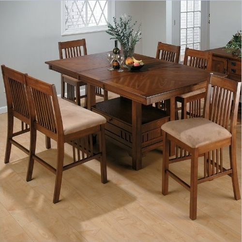 Most Recent Jofran 7 Piece Mission Counter Height Dining Set In Saddle Brown Oak Within Jaxon Grey 5 Piece Round Extension Dining Sets With Upholstered Chairs (View 17 of 20)