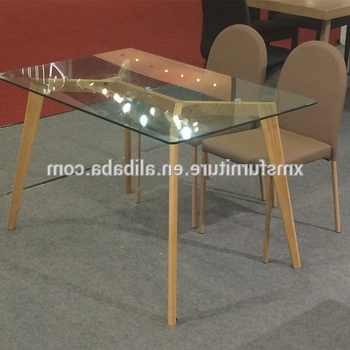 Most Recent Knock Down Tempered Glass Top Wooden/wood Like Legs Dining Table For Glass Dining Tables With Wooden Legs (View 13 of 20)