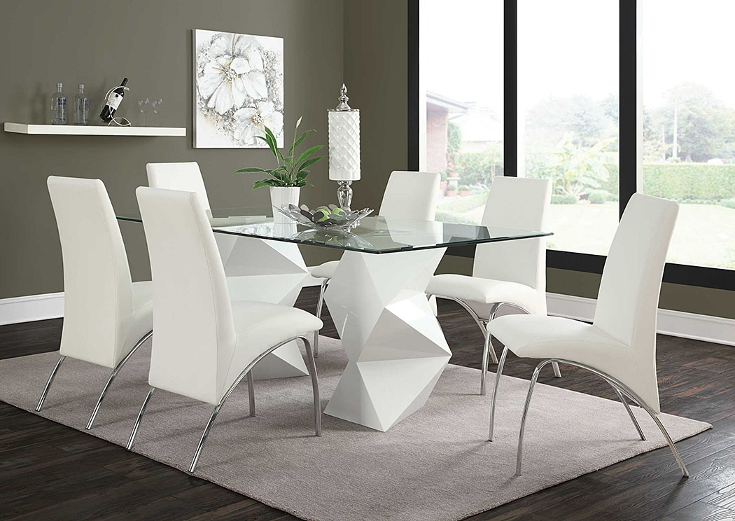 Most Recent Logan 7 Piece Dining Sets Within Leonardo Furniture – Rockville Center, Ny White & White Dining Table (View 9 of 20)