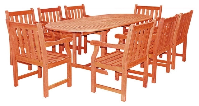 Most Recent Malibu Outdoor 9 Piece Wood Patio Dining Set, Extension Table With Regard To Craftsman 9 Piece Extension Dining Sets (View 12 of 20)