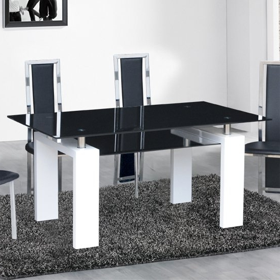 Most Recent Metro Dining Tables With Kontrast Dining Table In Black Glass With White Gloss Legs (View 3 of 20)