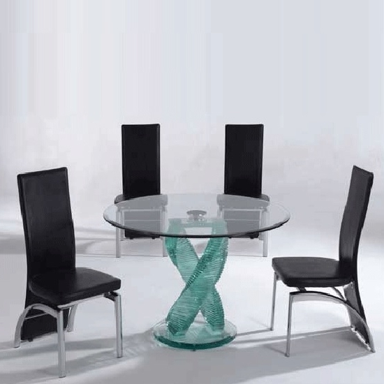 Most Recent Monaco Dining Sets Intended For Monaco 4 Seater Dining Set In Clear Glass With Oslo Black (View 14 of 20)