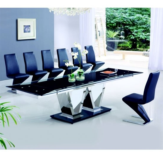 Most Recent Nico Extending Glass Dining Table And 8 Z Leather Chairs Throughout Extending Glass Dining Tables And 8 Chairs (View 16 of 20)