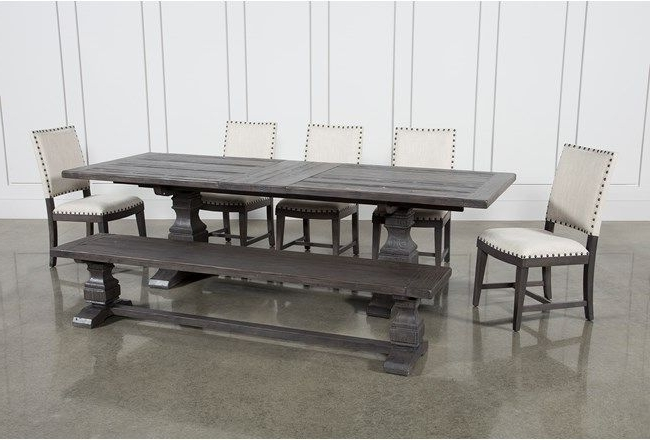 Most Recent Norwood 7 Piece Rectangular Extension Dining Set With Bench & Uph With Caden 6 Piece Rectangle Dining Sets (View 10 of 20)