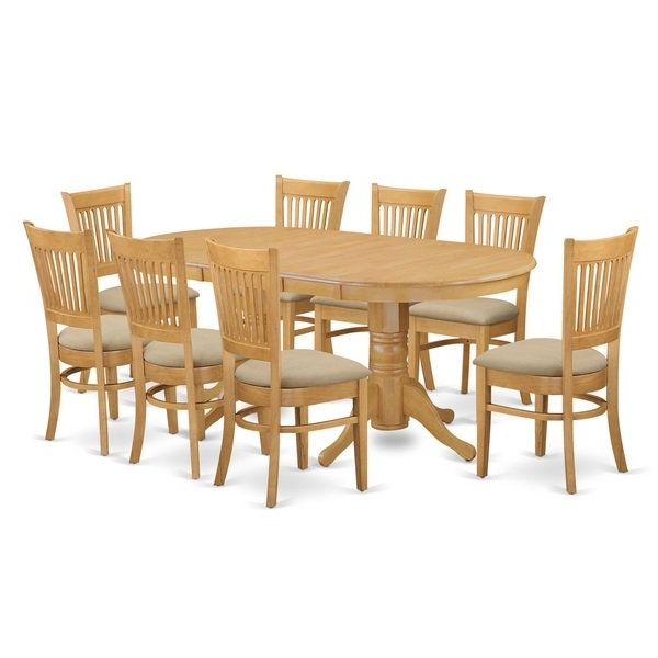 Most Recent Oak Dining Tables 8 Chairs In Shop Vanc9 Oak Finish Rubberwood Dining Table And 8 Chairs – Free (View 9 of 20)