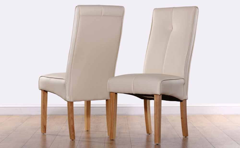 Most Recent Oak Leather Dining Chairs Within Logan Ivory Leather Dining Chair Oak Leg Only White Leather Dining (View 12 of 20)