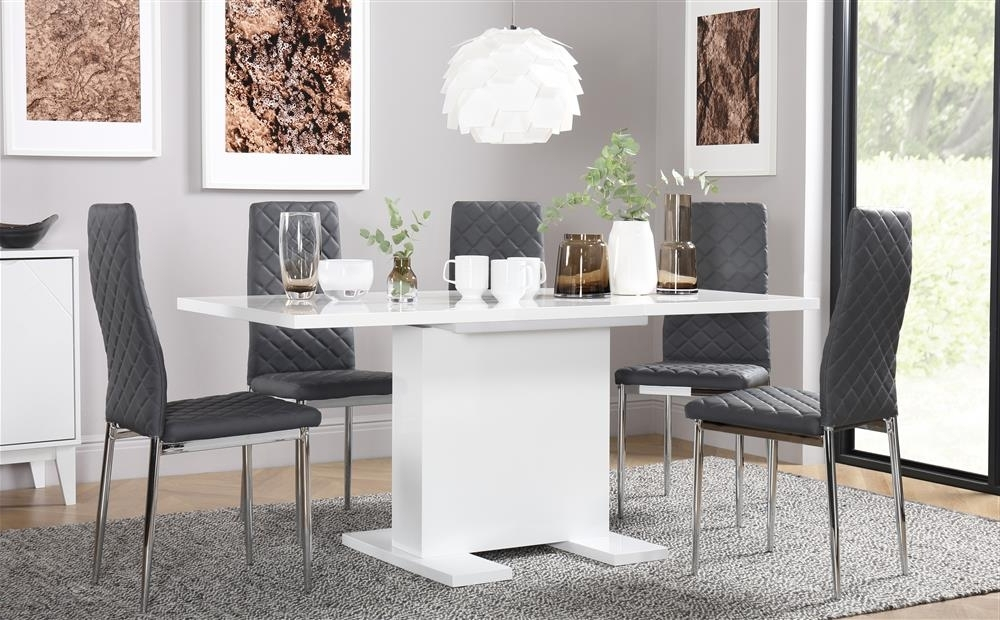 Most Recent Osaka White High Gloss Extending Dining Table With 6 Renzo Grey Throughout Amos Extension Dining Tables (View 15 of 20)