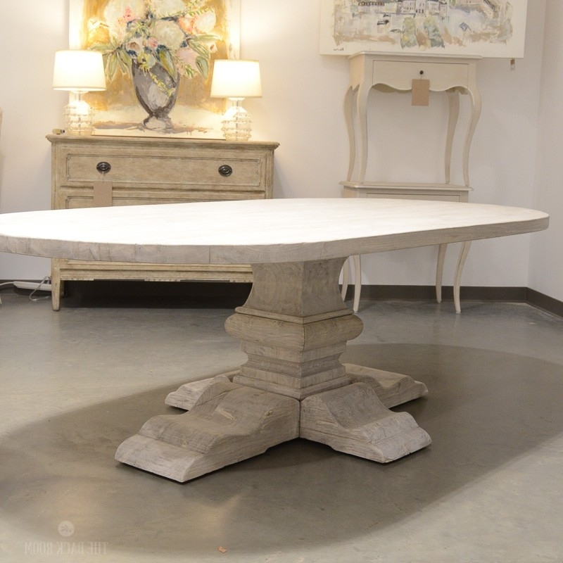 Most Recent Oval Reclaimed Elm Plank Table With Pedestal Leg With Regard To Oval Reclaimed Wood Dining Tables (View 8 of 20)