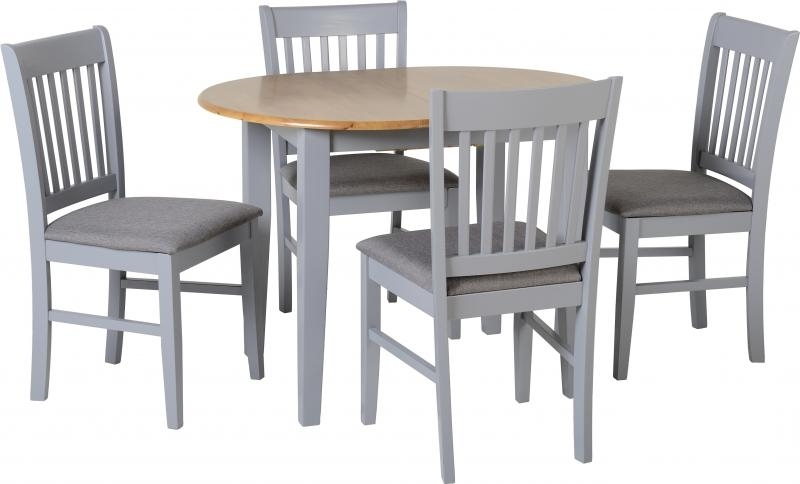 Most Recent Oxford Extending Dining Table + 4 Chairs In Grey – Pp Homestores Intended For Extendable Dining Tables And 4 Chairs (View 13 of 20)