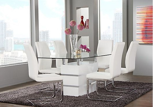 Most Recent Palazzo 7 Piece Dining Sets With Mindy Slipcovered Side Chairs Within Picture Of Tria White 5 Pc Rectangle Dining Room From Dining Room (View 10 of 20)