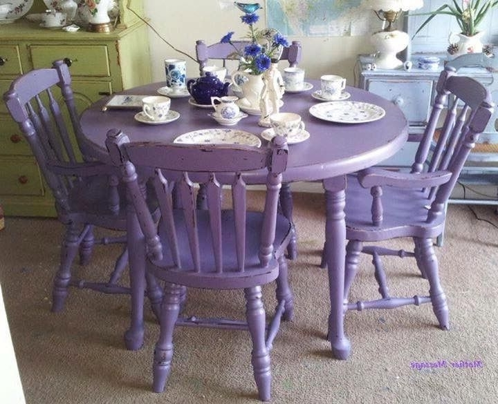 Most Recent Purple Antique Shabby Chic Mahogany Dining Table & Chairs (View 12 of 20)