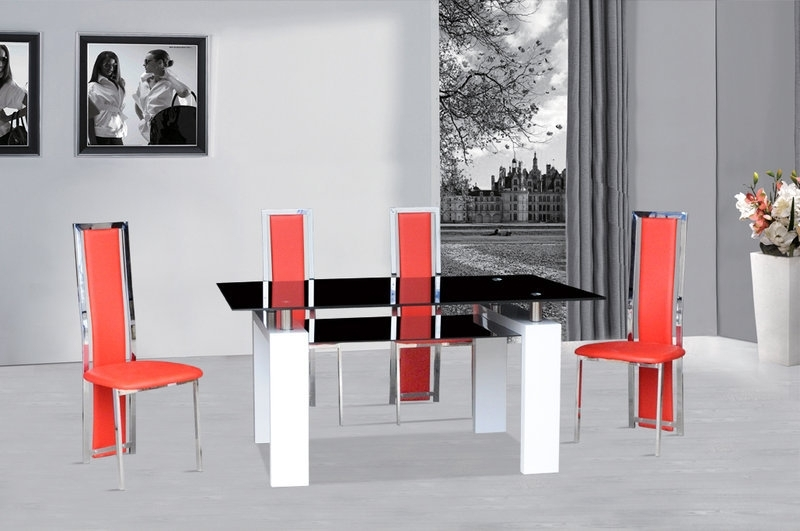 Most Recent Red Gloss Dining Tables For Black Glass Dining Table White Gloss & 4 Red Chairs – Homegenies (View 5 of 20)
