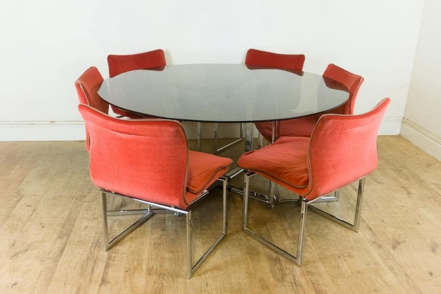 Most Recent Retro Glass Dining Tables And Chairs Regarding Vintage Retro Pieff Glass And Chrome Dining Table And 6 Chairs (View 8 of 20)