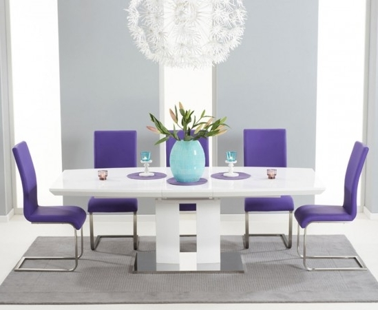 Most Recent Rossini 180Cm High Gloss Extending Dining Table With 6 Malibu Purple Throughout Dining Tables And Purple Chairs (View 13 of 20)