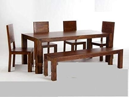 Most Recent Shilpi Sheesham Wood Wooden Dining Table With 4 Chairs 1 Bench 1 With Regard To Sheesham Dining Tables And 4 Chairs (View 6 of 20)
