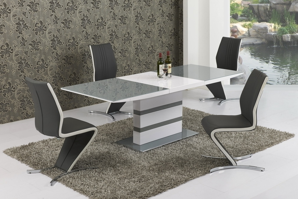 Most Recent Small Extending Dining Tables And 4 Chairs Intended For Small Extending Grey Glass High Gloss Dining Table And 4 Chairs Set (View 2 of 20)