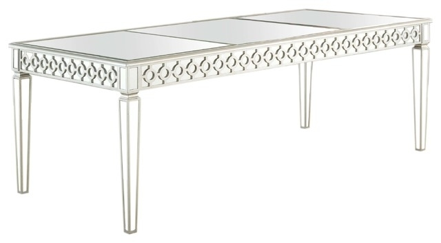 Most Recent Sophie Silver Mirrored Dining Room Table – Contemporary – Dining Throughout Mirrored Dining Tables (View 13 of 20)
