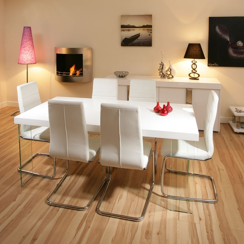 Most Recent Stunning Dining Set White Gloss Table 6 White Modern Chairs, White Inside White Gloss Dining Tables And 6 Chairs (View 11 of 20)