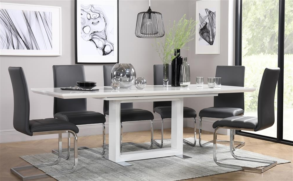 Most Recent Tokyo & Perth Extending White High Gloss Dining Table & 4 6 8 Chairs Within Dining Tables With Grey Chairs (View 16 of 20)