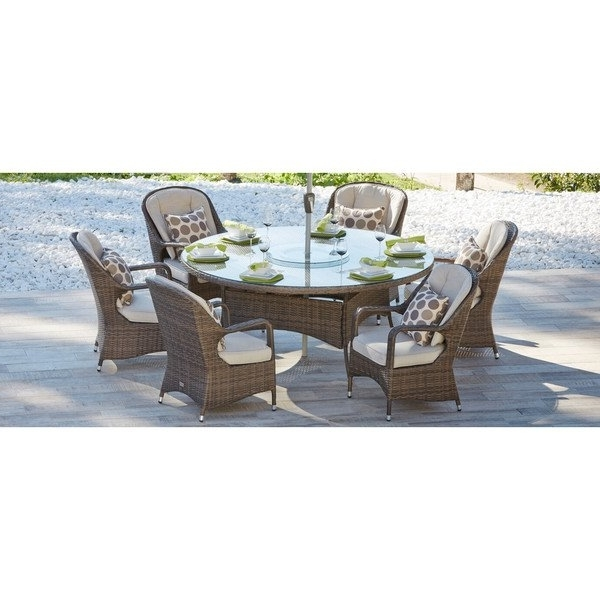 Most Recent Valencia 72 Inch 7 Piece Dining Sets For Shop Direct Wicker Eton Chair Brown Wicker 6 Seat Round Outdoor (View 5 of 20)