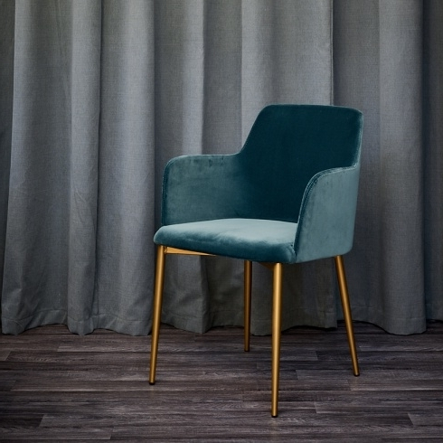 Most Recent Velvet Dining Chairs Inside Dolce Teal Velvet & Brass Dining Chair, Modern (View 12 of 20)
