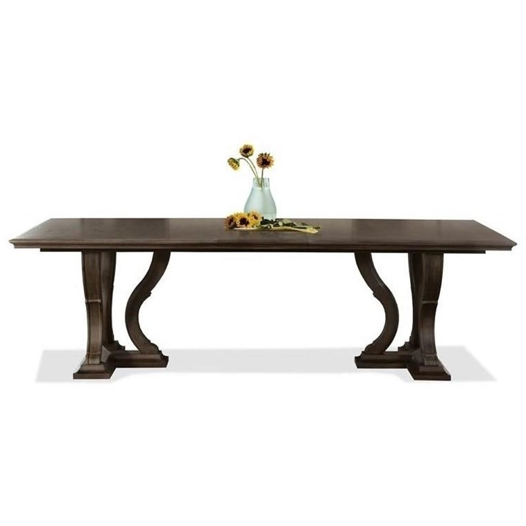 """Most Recent Verona Dining Tables Inside Riverside Furniture Verona 24950 Trestle Dining Table With 18"""" Leaf (View 8 of 20)"""