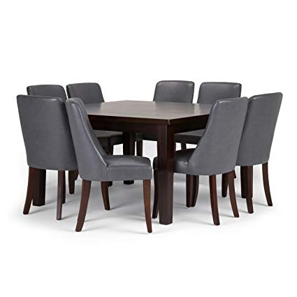 Most Recent Walden 9 Piece Extension Dining Sets Regarding Amazon: Simpli Home Walden 9 Piece Dining Set, Stone Grey (View 7 of 20)