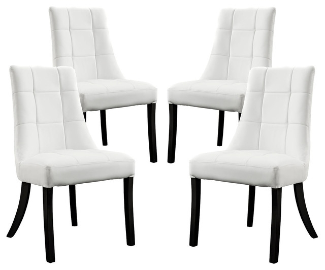 Most Recent White Dining Chairs Intended For Noblesse Vinyl Dining Chair, Set Of 4 – Transitional – Dining Chairs (View 11 of 20)
