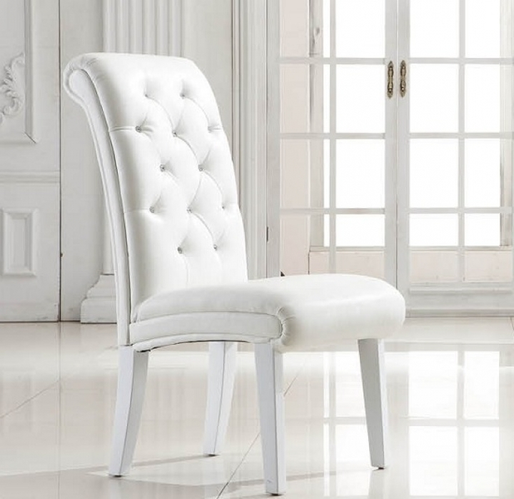 Most Recent White Leather Dining Chairs Pertaining To Easy White Leather Dining Chairs : Tips For Reupholstering Leather (View 10 of 20)