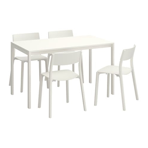 Most Recent White Melamine Dining Tables Within Melltorp / Janinge Table And 4 Chairs – Ikea (View 8 of 20)