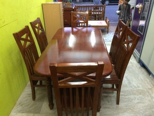 Most Recent Wood Dining Tables And 6 Chairs Inside Teak Wood Dining Table Set With 6 Chairs At Rs 28000 /piece(S (View 7 of 20)