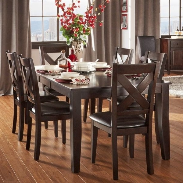 Most Recently Released Acton Warm Merlot X Back Casual 7 Piece Extending Dining Set Pertaining To Combs 48 Inch Extension Dining Tables (View 15 of 20)