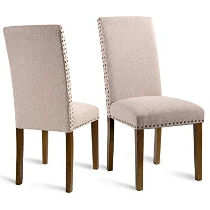 Most Recently Released Amazon: Merax Set Of 2 Fabric Dining Chairs With Copper Nails Within Fabric Dining Chairs (View 3 of 20)