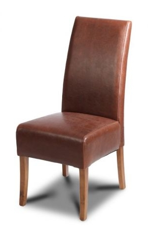 Featured Photo of Brown Leather Dining Chairs