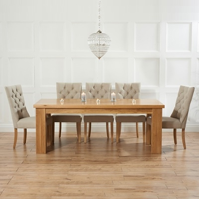 Most Recently Released Belgravia Solid Oak 180Cm Dining Table With 6 Albany Beige Chairs Regarding 180Cm Dining Tables (View 17 of 20)