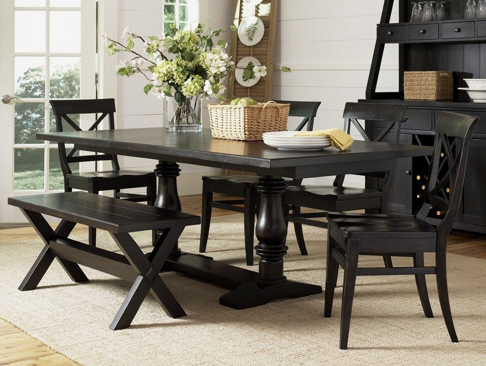 Most Recently Released Black Dining Table And Bench : Ugarelay – Black Dining Table Furniture Within Black Wood Dining Tables Sets (View 11 of 20)