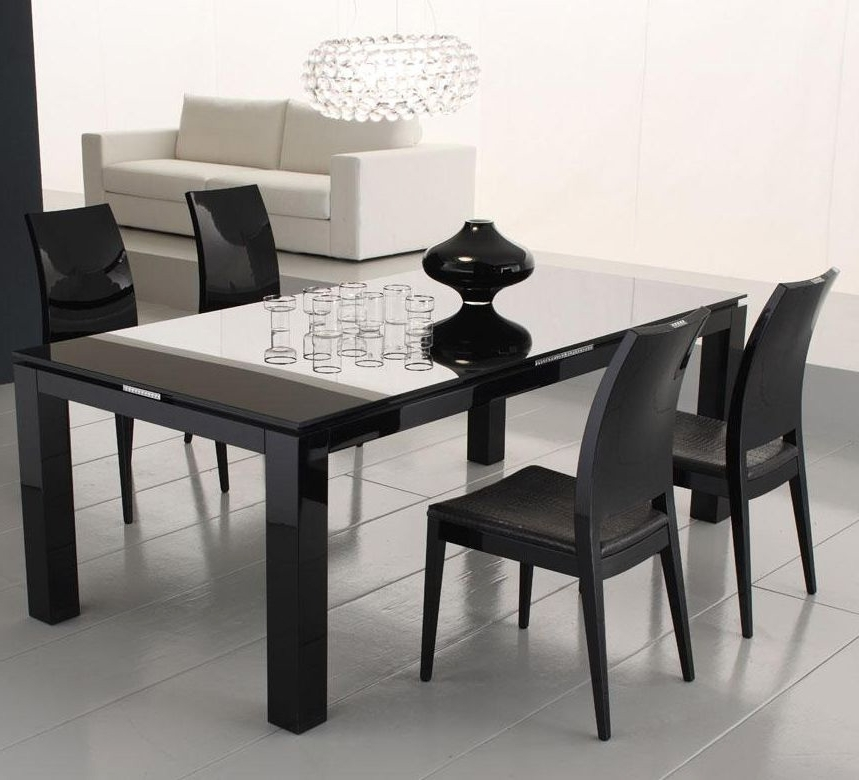 Most Recently Released Black Dining Tables Throughout Diamond Black Dining Table With Glass Top (View 14 of 20)