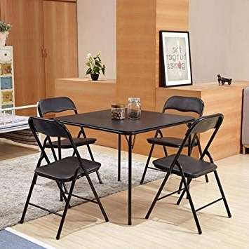 Most Recently Released Black Folding Dining Tables And Chairs Regarding Furniturer 5 Pcs Folding Dining Table Chairs Set Metal Frame Kitchen (View 18 of 20)