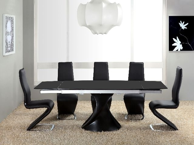 Most Recently Released Black Gloss Dining Tables With Twirl Black Matt Extending Dining Table Matt Black Extending Dining (View 15 of 20)
