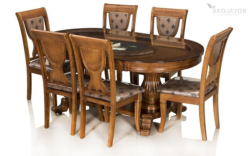 Most Recently Released Buy Royaloak Titan 6 Seater Solid Oakwood Dining Set With Tempered In Six Seater Dining Tables (View 8 of 20)