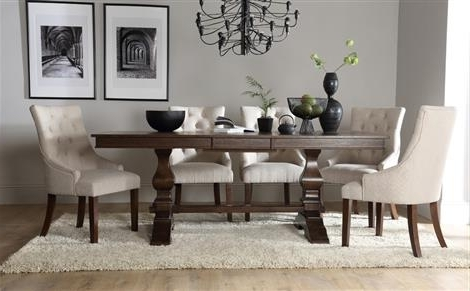 Most Recently Released Cavendish Dark Wood Extending Dining Table With 6 Duke Oatmeal For Dark Wood Extending Dining Tables (View 15 of 20)