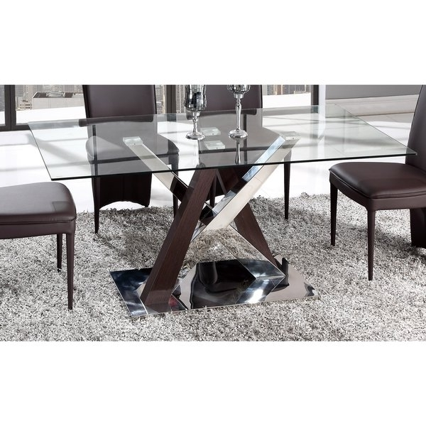 Most Recently Released Chrome Glass Dining Tables For Shop Global Furniture Wenge Mdf, Chrome, And Glass Dining Table (View 13 of 20)