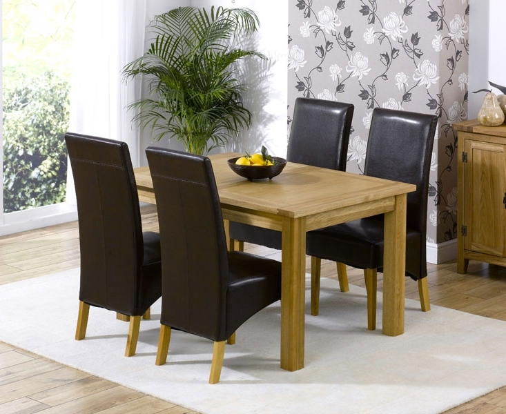 Most Recently Released Cipriano Extending Oak Dining Table And 4 Leather Chairs Inside Extending Oak Dining Tables And Chairs (View 12 of 20)